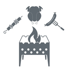 Brazier chicken kebab and sausage icon vector
