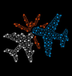 bright mesh network airplane collision with flash vector image
