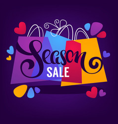 bright season sale background with shopping bags vector image
