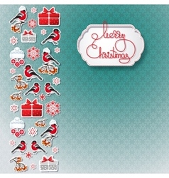 Bullfinch gift snowflake seamless background vector image