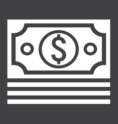 Bundle of money glyph icon business and finance vector