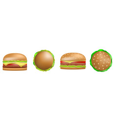 Burger icons set realistic style vector