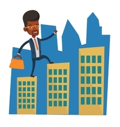 Businessman walking on the roofs of the buildings vector