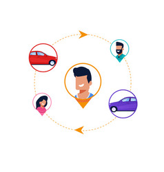 Car sharing cycle infographic transport rental vector