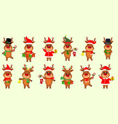 christmas and new year 2020 a set twelve cute vector image