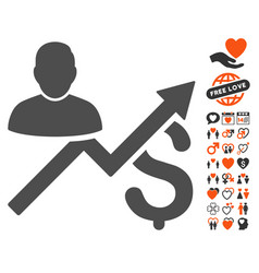Client sales chart icon with dating bonus vector