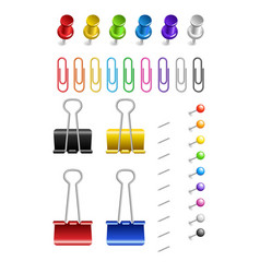 colored paper clips and pins on a white background vector image