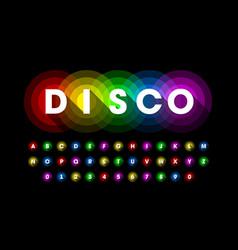 colorful disco style font design alphabet letters vector image