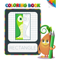 Coloring book geometric form rectangle vector