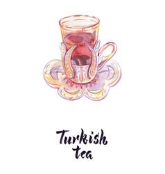 Cup turkish tea vector