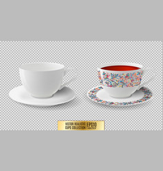Cup white ceramic with saucer vector
