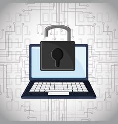 Cyber security padlock online technology digital vector