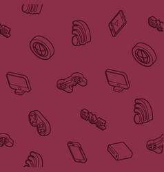 Cyber sport outline isometric pattern vector