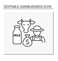 Dairy farming line icon vector