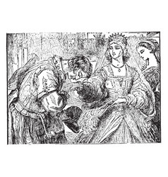 Desdemona and michael cassio vintage vector