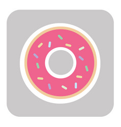 Donut with pink glaze donut icon vector