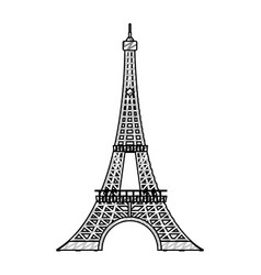 doodle eiffel tower architecture from paris france vector image