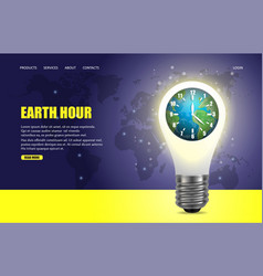 earth hour website landing page design vector image
