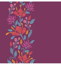 Emboridered Flowers Vertical Seamless Pattern vector image