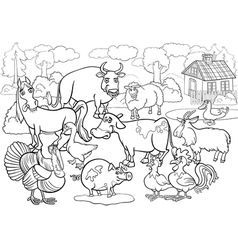 farm animals cartoon for coloring book vector image