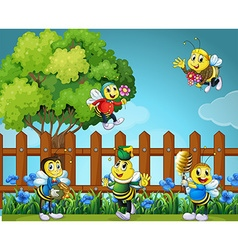 Five bees in the garden vector image