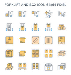 Forklift box icon vector