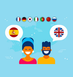 Friends from spain and england social media chat vector