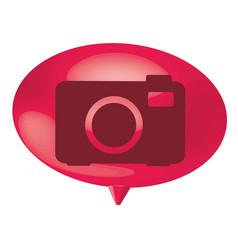 Fuchsia bubble camera icon vector
