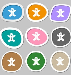 Gingerbread man icon symbols Multicolored paper vector