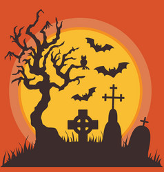 Halloween graveyard at night with full moon vector