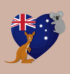 Happy australia day with flag on a heart design vector