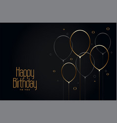 Happy birthday black card with golden line vector