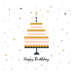 happy birthday card with cake vector image