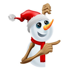 happy snowman in santa hat pointing vector image