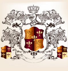 heraldic design with coat arms and shield vector image