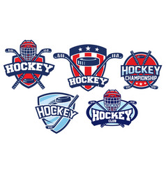 Hockey badge design set vector