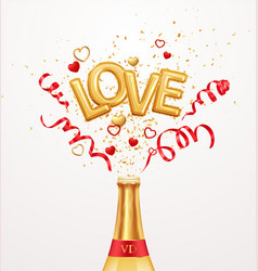 inscription love helium balloons on a background vector image