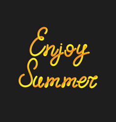 inscription of enjoy summer in 3d style vector image