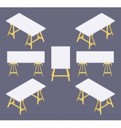 Isometric work table vector image