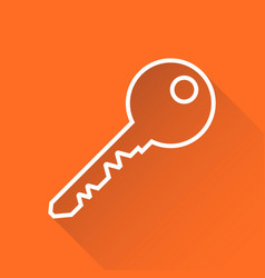 key icon in flat style isolated on orange vector image