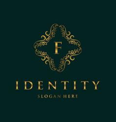 Letter f frame luxury creative business logo vector