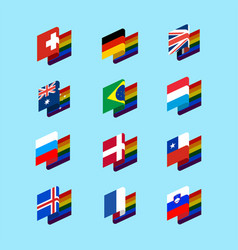 Lgbt state flag set 1 same-sex marriages symbol vector
