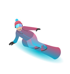 Male character standing on a snowboard vector