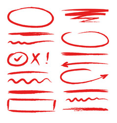 Marker red highlighters hand drawn brush ink vector