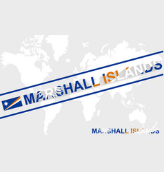Marshall islands map flag and text vector
