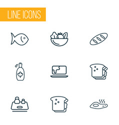 meal icons line style set with omelette fish vector image