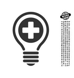 Medical bulb icon with men bonus vector