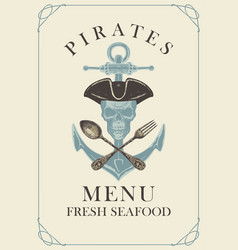 Menu with pirate skull anchor spoon and fork vector