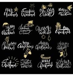 Merry Christmas handwritten lettering Typographic vector