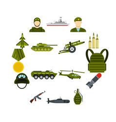 military icons set flat style vector image